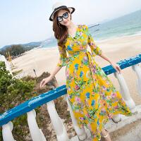 波西米亚大码大摆夏雪纺显瘦海边度假沙滩裙中袖连衣裙宽松长裙
