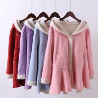 V4冬装新宽松加厚棉衣麂皮绒羊羔毛大衣中长款皮毛一体外套女0.97