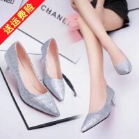 小单根鞋女士金色银色婚鞋低跟尖头高跟鞋细跟浅口中跟单鞋3-5cm