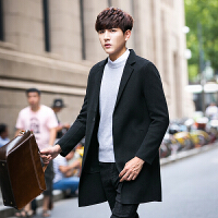 毛呢大衣男青年男士秋冬外套中长款羊毛呢大衣韩版学生双面呢风衣