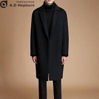 潮牌秋冬季毛呢大衣男中长款韩版潮呢子外套青年宽松双面羊绒大衣 黑色【加棉款】 3XL