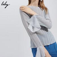 Lily2017秋新款女装金银丝喇叭袖上衣修身雪纺袖套头衫17319C8906