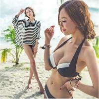 2018新款韩国2018大胸小胸钢托聚拢比基尼三件套温泉度假沙滩装泳衣女 如图