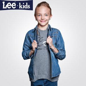 LEE童装 秋新品女童时尚长袖牛仔上衣中大童儿童休闲加厚外套