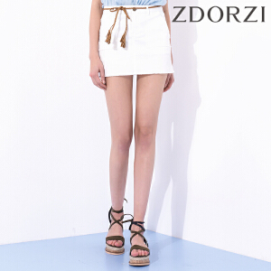 卓多姿夏装新款显瘦纯色口袋牛仔半身裙女734576