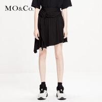 MOCO2019春季新品褶皱拼接不规则半身裙MAI1SKT022 摩安珂