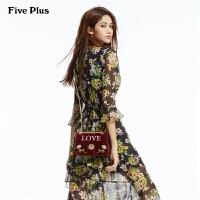 Five Plus女装VAVA明星同款荷叶边印花连衣裙中长款高腰拼接