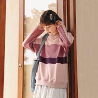 撞色套头卫衣2020年秋季新款女装韩版宽松学院风长袖显瘦百搭上衣