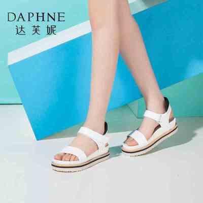 Daphne/达芙妮女鞋夏季时尚厚底增高魔术贴女凉鞋