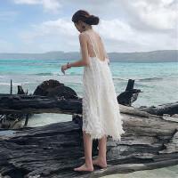 白色沙滩裙夏季2018新款海边度假露背连衣裙泰国性感显瘦中长裙女