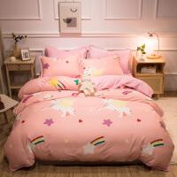A纯棉B珊瑚绒四件套全棉加厚冬季法兰绒法莱绒被套床单1.8m米床上用品
