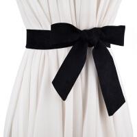 新品韩版秋冬女士麂皮绒百搭飘带 配裙子打结女腰带包包带装饰