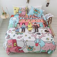 日式动漫卡通珊瑚绒四件套单双人床品冬天保暖水晶绒被套床单