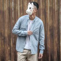 东京衣柜男装原创日系青年撞色条纹休闲长袖衬衫男潮流学生衬衣男