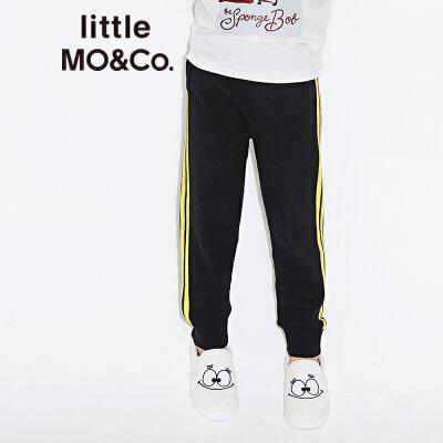 【折后价:267.6】littlemoco男女童松紧腰杠条针织休闲长裤KA173PAT302 撞色杠条 休闲针织裤