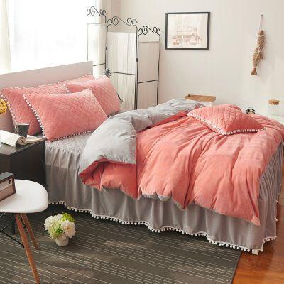 家纺床上四件套珊瑚绒加厚冬季水晶绒公主风保暖夹棉床裙床笠款1.8m 水晶绒 粉+灰四件套