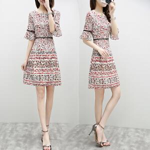 2018夏季新款韩版女装时尚名媛修身五分袖印花雪纺显瘦连衣裙女潮