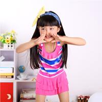 儿童泳衣新款女宝宝大中小童韩版裙式连体游泳衣舒适可爱细腻 均码