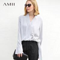 【到手价:129元】Amii极简洋气超仙雪纺衫女2019春装新款气质套头长袖通勤V领上衣