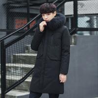 冬季新款中长款毛领羽绒服男韩版修身加厚毛暖连帽外套潮流男 黑色 M