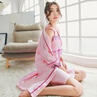 睡衣女夏季性感情趣丝绸吊带睡裙两件套装家居服冰丝春秋