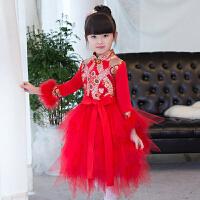 中式公主裙新款厚款儿童旗袍裙中式儿童礼服秋冬女童长袖中国风 大红织锦缎