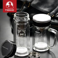 特美刻高档玻璃杯男水杯双层带盖便携泡茶杯子
