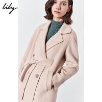 Lily2019冬新款女装纯色简约双面呢羊毛大衣系带毛呢外套1942