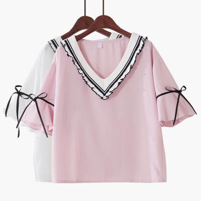 V领宽松显瘦喇叭短袖雪纺衫衬衫棉学院木耳边女
