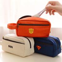 创意文具盒韩国笔袋学生女大容量简约可爱帆布铅笔袋文具