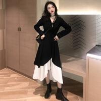 韩国chic复古秋装新款吊带中长裙连衣裙+黑色系带不规则外套裙子 均码
