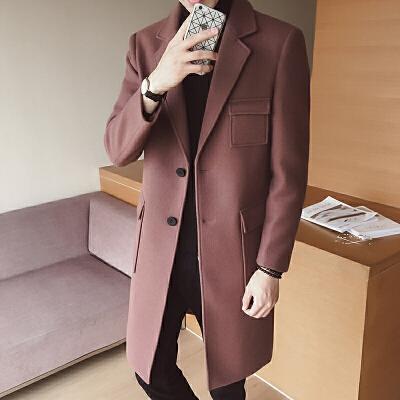 秋冬季男士风衣中长款韩版修身毛呢大衣青年帅气呢子西装领外套潮 一般在付款后3-90天左右发货,具体发货时间请以与客服协商的时间为准