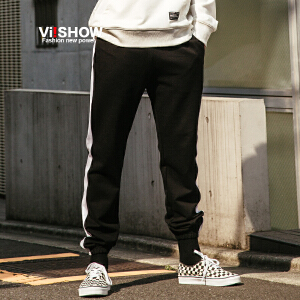 VIISHOW秋装新品休闲长裤男条纹装饰束脚男士小脚裤运动裤潮