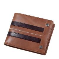 男士钱包头层牛皮横款钱夹多功能真皮短款男皮夹 潮 支持礼品卡支付