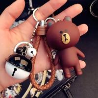 韩国卡通钥匙扣可爱创意女生包包汽车挂件情侣铃铛钥匙链圈绳礼物