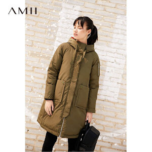 Amii90绒连帽羽绒服女冬装新款工装加厚宽松通勤外套女