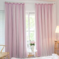 窗帘成品全遮光公主风粉色蕾丝定制卧室客厅简约现代双层纱帘飘窗 4.0宽X2.7高一片 可改短