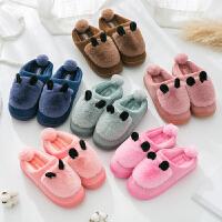 情侣棉拖鞋冬季男女厚底韩版可爱居家室内半包跟冬天保暖家居棉拖