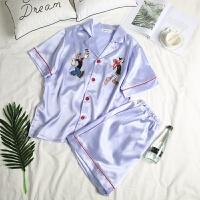 新款2018新丝绸情侣睡衣韩版女士衬衫领冰丝套装宽松可爱卡通家居服