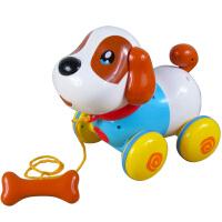电动机器狗儿童智能对话感应狗拉线狗牵绳宠物小狗玩具拖拉狗 盈佳狗 送【1.2米延长牵引绳】