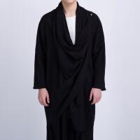 中国风棉麻风衣男士中长款薄款亚麻男装上衣宽松开衫披风外套