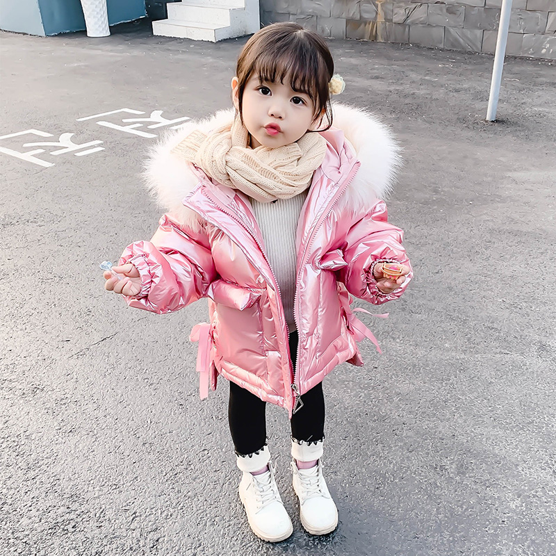女童亮面羽绒棉袄洋气冬装