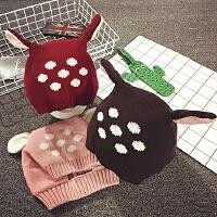 儿童帽子冬季卡通护耳帽保暖套头帽宝宝帽子男女童针织毛线帽韩版