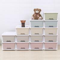 五层加厚塑料抽屉式收纳柜子自由组合零食储物柜儿童宝宝衣柜 超值混色组合套装(带轮)