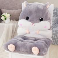 一体坐垫汽车学生椅垫屁股垫子毛绒玩具居家仓鼠暖手抱枕插手靠垫