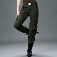 厚款休闲裤多口袋工装长裤女户外大码直筒军工装迷彩长裤 27 腰围2尺