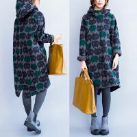 秋冬装新款大码女装中长款加绒加厚套头卫衣带帽胖mm宽松显瘦外套