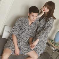 秋冬日式和服情侣全棉纱布睡衣睡袍复古开衫男女浴衣家居服套装女