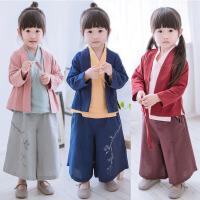汉服女童套装儿童装宝宝国学古装中国改良古代复古民族风服装唐装