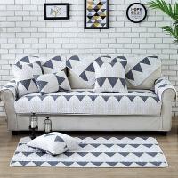 铭聚布艺 浪漫现代风沙发垫斜纹彩色几何坐垫防滑百搭沙发巾扶手靠垫